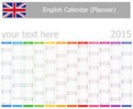 Calendrier de planificateur des 2015 anglais avec des mois verticaux Images libres de droits