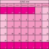 06 CALENDRIER de PLANIFICATEUR rose de 2018 couleurs Photographie stock libre de droits