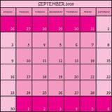 09 CALENDRIER de PLANIFICATEUR rose de 2018 couleurs Images stock