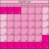 08 CALENDRIER de PLANIFICATEUR rose de 2018 couleurs Photo libre de droits