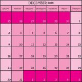 12 CALENDRIER de PLANIFICATEUR rose de 2018 couleurs Image stock