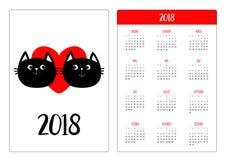 Calendrier de poche 2018 ans La semaine commence dimanche Famille de deux de chat noir couples de tête Coeur rouge Personnage de  illustration stock