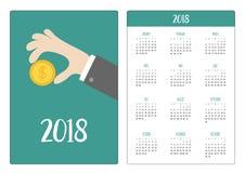 Calendrier de poche 2018 ans La semaine commence dimanche Participation de main illustration stock