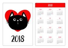 Calendrier de poche 2018 ans La semaine commence dimanche Tête de chat noir Coeur rouge Conception plate Personnage de dessin ani illustration libre de droits