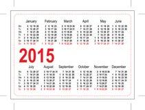 Calendrier 2015 de poche de calibre Photographie stock libre de droits