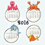 Calendrier de quatre mois de 2016 Photos libres de droits