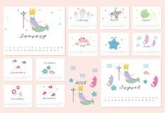 calendrier 2018 de sirène Photos stock