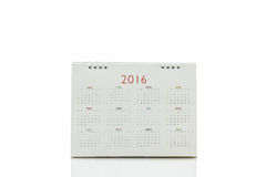 Calendrier 2016 de spirale de bureau de livre blanc Photo stock