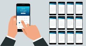 Calendrier de vecteur pendant 2019 années La main avec un smartphone avec un calendrier, un mois prévoit Calibre d'impression de  Image libre de droits