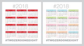 Calendrier de vecteur pour 2018 photographie stock