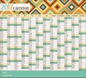 calendrier 2017 de vintage Image stock