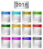 Calendrier des 2016 anglais Photographie stock libre de droits