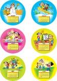 Calendrier drôle d'enfants Images libres de droits
