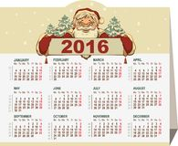 calendrier 2016 Drapeau de fixation du père noël Image libre de droits