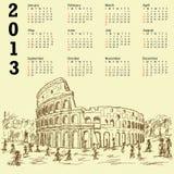 Calendrier du cru 2013 de colosseum de Rome Images libres de droits