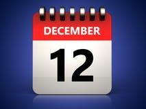 calendrier du 12 décembre 3d illustration de vecteur