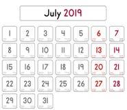Calendrier du mois de juillet 2019 illustration de vecteur