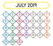 Calendrier du mois de juillet 2019 illustration libre de droits