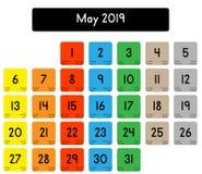 Calendrier du mois de mai 2019 illustration stock