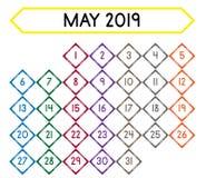 Calendrier du mois de mai 2019 illustration libre de droits