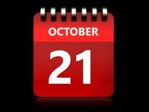 calendrier du 21 octobre 3d illustration libre de droits