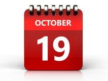calendrier du 19 octobre 3d illustration libre de droits