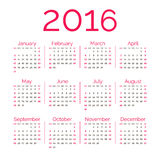 Calendrier du rouge 2016 Photo libre de droits
