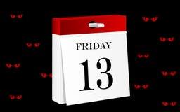 Calendrier du vendredi 13 Image stock