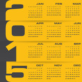 Calendrier editable simple 2015 de vecteur Photographie stock