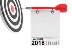 Calendrier en août 2018 avec la cible rendu 3d Image stock