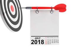 Calendrier en juillet 2018 avec la cible rendu 3d Photo libre de droits