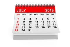 Calendrier en juillet 2018 rendu 3d Images libres de droits