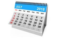 Calendrier en juillet 2018 rendu 3d Photo stock