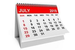 Calendrier en juillet 2018 rendu 3d Photographie stock libre de droits