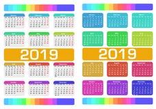 Calendrier 2019 Ensemble coloré Débuts de semaine dimanche illustration stock