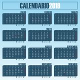 Calendrier 2019 espagnol photo stock