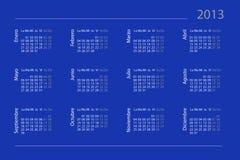 Calendrier espagnol pour 2013 Photographie stock libre de droits