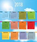 Calendrier espagnol pour 2018 comme la blanchisserie sur la corde à linge Image libre de droits