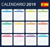 Calendrier espagnol pour 2019 Programmateur, ordre du jour ou calibre de journal intime Débuts de semaine lundi illustration libre de droits