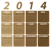 Calendrier espagnol pour 2014, style classique. Images stock