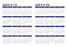 Calendrier 2015 et 2016 Photographie stock