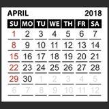 Calendrier feuille en avril 2018 Photos libres de droits