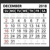 Calendrier feuille en décembre 2018 Photos stock