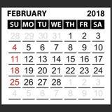 Calendrier feuille en février 2018 Images libres de droits