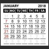 Calendrier feuille en janvier 2018 Photos stock