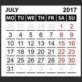 Calendrier feuille en juillet 2017 Photos stock