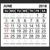 Calendrier feuille en juin 2018 Image stock