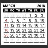 Calendrier feuille en mars 2018 Image libre de droits
