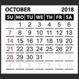 Calendrier feuille en octobre 2018 Photo libre de droits