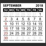 Calendrier feuille en septembre 2018 Images libres de droits